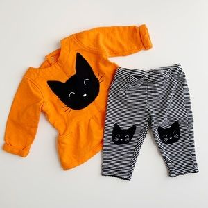 Carters Baby Girls Halloween Black Cat Outfit EUC